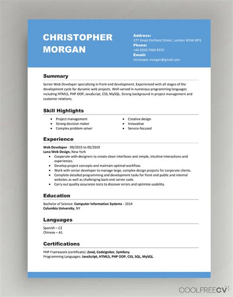The functional cv organizes information by topics. Resume Templates Free Download Word Document - Skushi