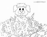 Fall Coloring Printable Activity Dog Activities Leaves Children Playing Bucket sketch template
