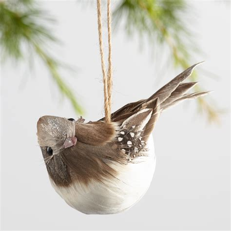 gray and brown natural feathered bird ornaments set of 3