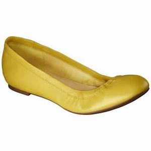 Women s Merona Genuine Leather Scrunch Flat Yellow I