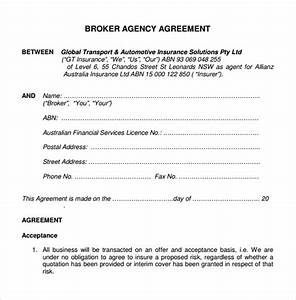 sample business agency agreement 7 free documents With real estate broker agreement template