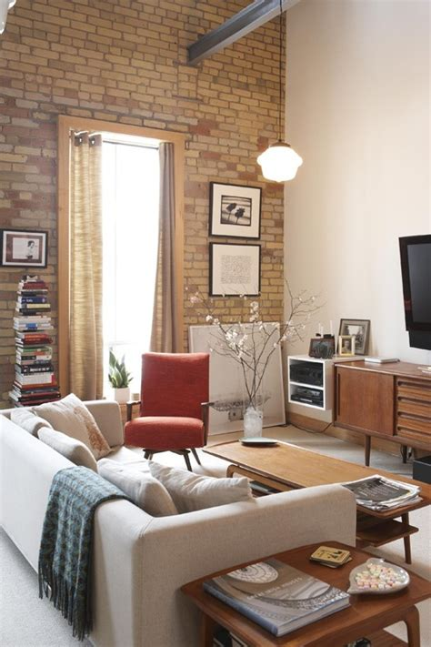 cool living rooms  brick walls digsdigs