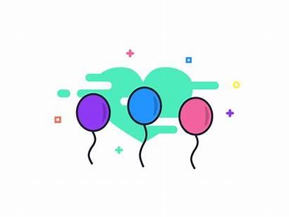Celebration Dribbble Animated Celebrate Balloons Animate Icon