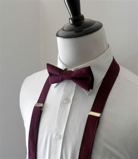 Burgundy Bow Tie And Suspenders For Men In 2019