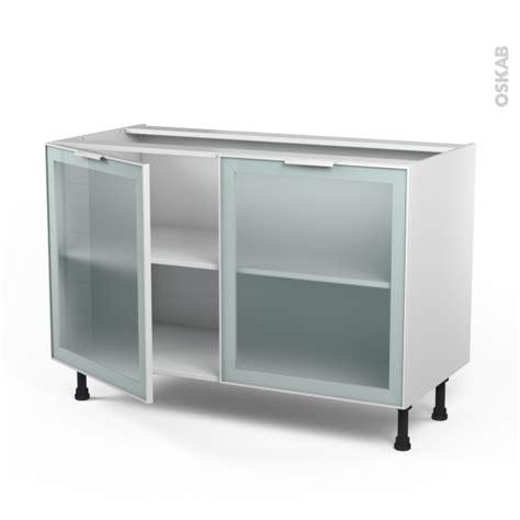 meuble cuisine vitré meuble de cuisine bas vitré façade blanche alu 2 portes