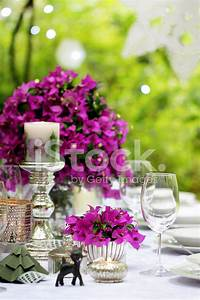 Summer Dinner Party Table Setting Decoration stock photos