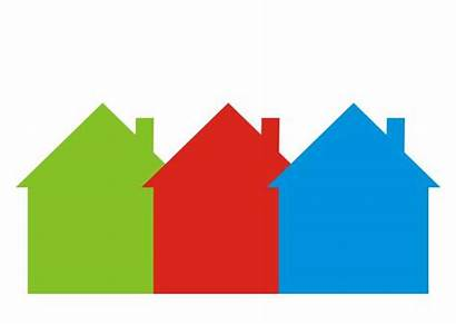 Row Houses Three Vector Differently Colored Icon