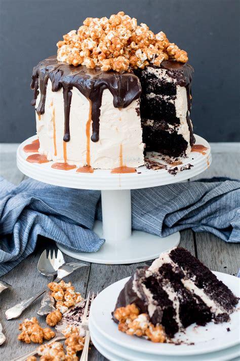 triple layer chocolate cake  salted caramel buttercream chocolate ganache  caramel