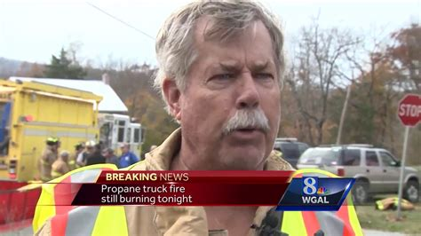 Propane truck fire still burning hours after crash - YouTube