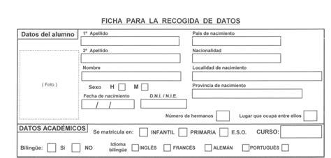 ficha formal para la recogida de datos de los alumnos orientacion andujar