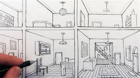 sketch a room how to draw a room in one point perspective in a house youtube