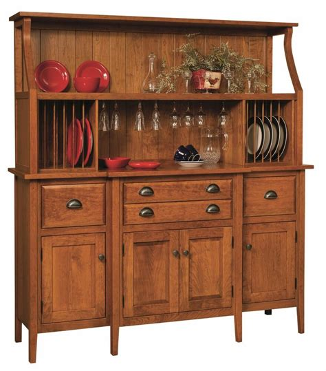 amish shaker country hutch buffet server china cabinet solid wood plate racks ebay