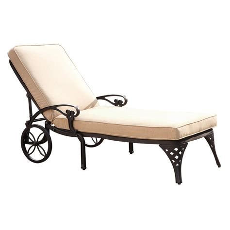chaise alu shop home styles biscayne aluminum chaise lounge chair with taupe cushion at lowes com