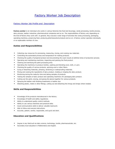 Resume Objective For A Factory Worker by The Most Stylish Resume For Factory Worker Resume Format Web