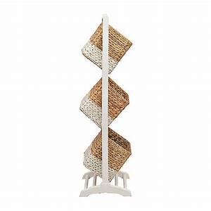 White 3-Tier Magazine Basket Tower Kirklands
