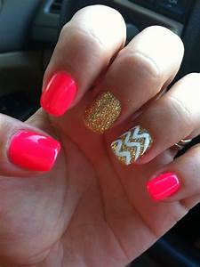 Shellac nails #hotpink#gold#chevron | Style | Pinterest ...