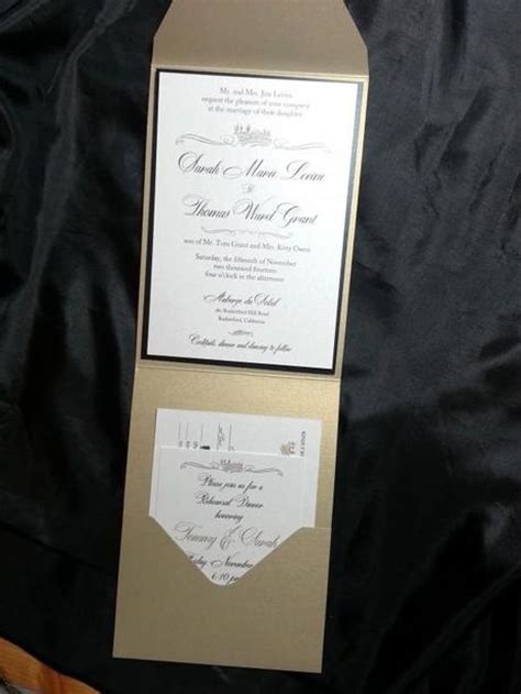 diy black white and gold wedding invitation paperblog