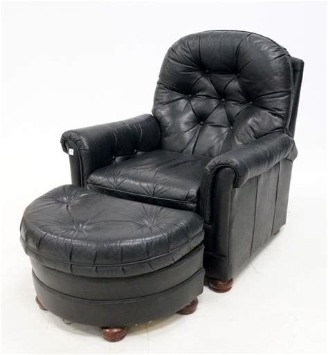 black leather recliner armchair with ottoman