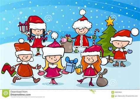 cartoon kids  christmas stock vector image