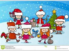 Enfants De Bande Dessinée Sur Noël Illustration de Vecteur
