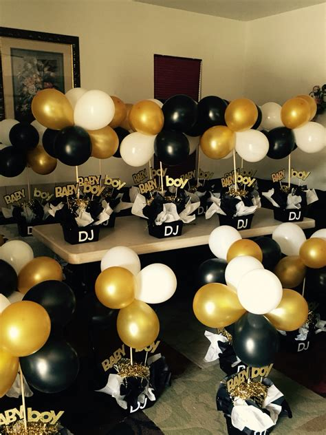 black and gold baby shower black and gold babyshower centerpieces black and white