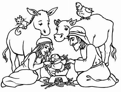 Coloring Nativity Animals Pages Printable Scene Christmas