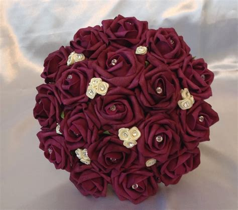 artificial wedding flowers wine red ivory foam rose