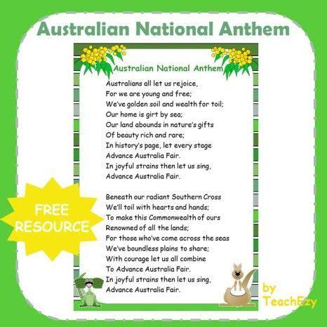 australian national anthem poster english language and