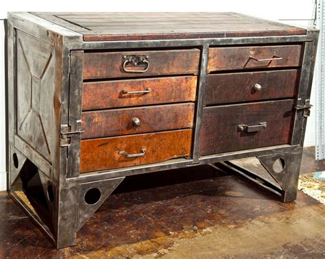 chest of drawers industrial steel and wood chest of drawers at 1stdibs Industrial