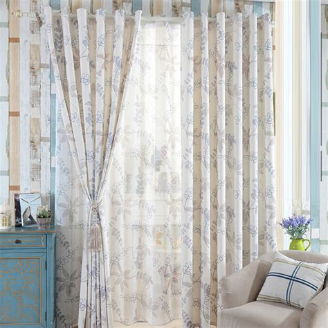 gray room darkening curtains country style gray leaf pattern linen cotton blend room