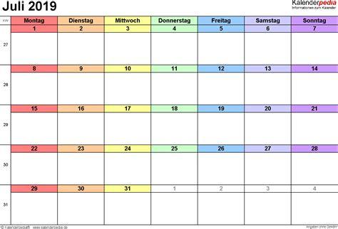 kalender juli als vorlagen