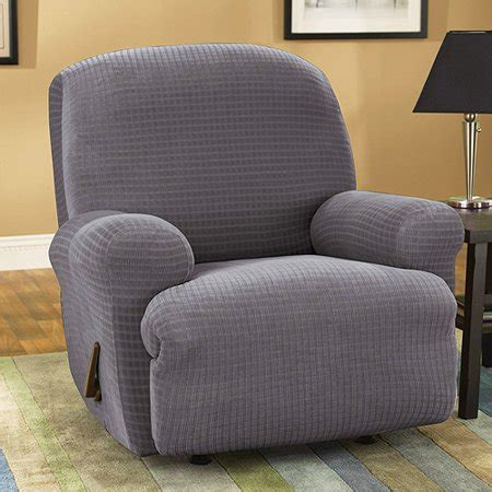 grey recliner slipcover stretch grid charcoal grey recliner slipcover walmart