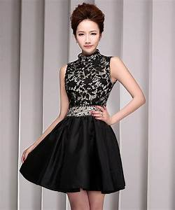 Backless Autumn Homecoming Dress High Neck Black Lace ...