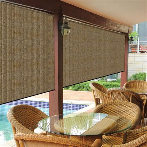 wallingford l and shade coolaroo walnut exterior roller shade 48 in w x 96 in