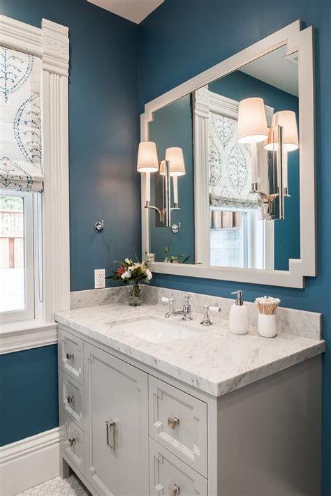 light gray  blue bathroom color scheme transitional