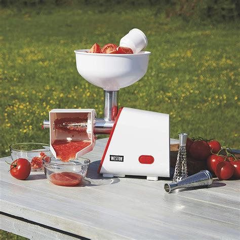 tomato canning electric juicer machine press weston strainer deluxe open box enlarge thumbnails