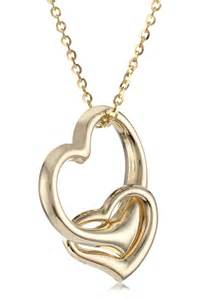 14k Yellow Gold Double Heart Pendant Necklace, 16