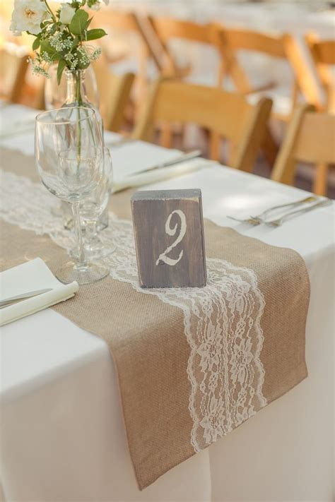 burlap table runner with lace 45 chic rustic burlap lace wedding ideas and inspiration