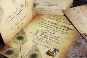Vintage peacock wedding invitation set fancy feathers wedding for Peacock wedding invitations with photo
