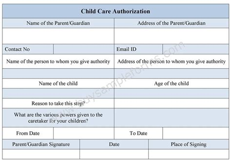 child care medication authorization form child care authorization form childcare form exle