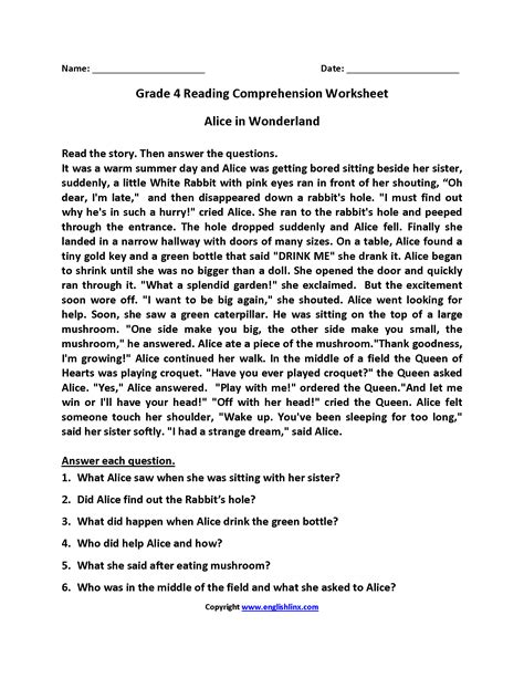 grade 4 reading comprehension worksheets worksheets for