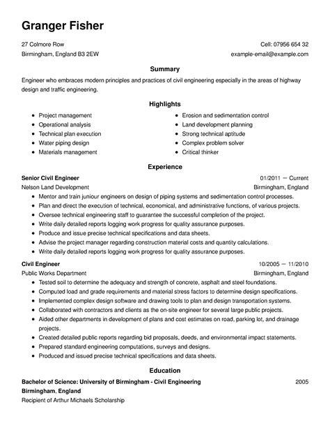 Engineering Resume by Engineering Resume Exles Engineering Sle Resumes
