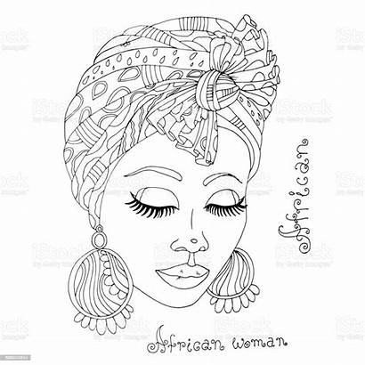 African Coloring Head Portrait Scarf Vector Adult