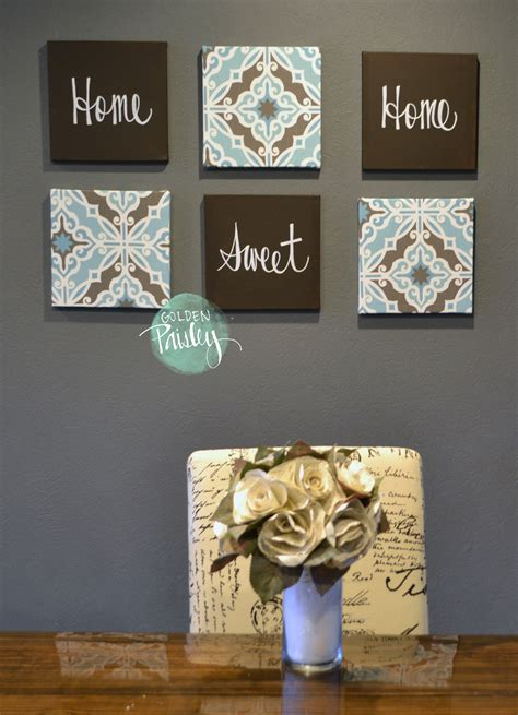 Well, those empty walls in your home are filled with ditch that can of paint and get creative with fun wall decor instead! Blue and Dark Brown Eat Drink Be Merry 6 Piece Wall Art