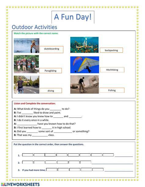 outdoor activities interactive worksheet