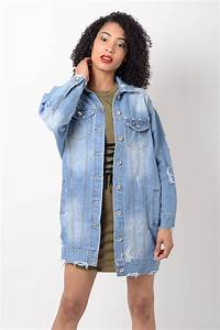 Stylish Light Blue Distressed Oversized Denim Jacket | Stylish Jackets
