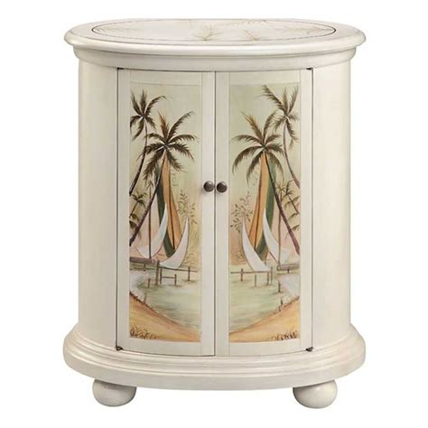 nautical themed accent cabinet  palm tree  sailboat beach scene