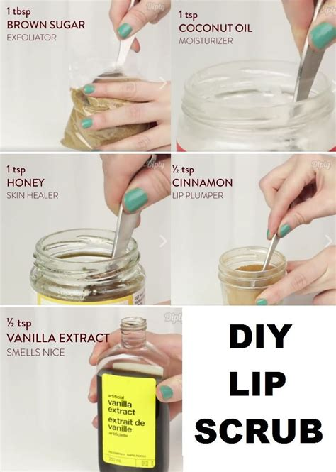 Coconut oil is a great skin softener and helps you do away with dry and hard skin. DIY lip scrub: brown sugar, coconut oil, honey, cinnamon and vanilla extract. #FaceScrubForWrinkles