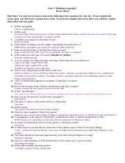 unit 1 review sheet answers unit 1 thinking geography review sheet directions use your text or