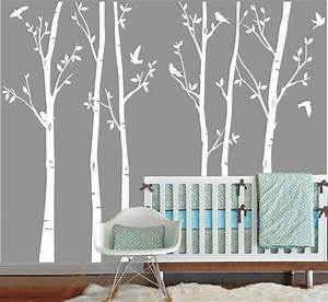 vinyl wall decals white tree decal nursery six birth trees With white wall decals